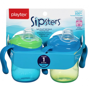 Playtex Sipsters Stage 1 Spill-Proof, Leak-Proof, Break-Proof Soft Spout Sippy Cups